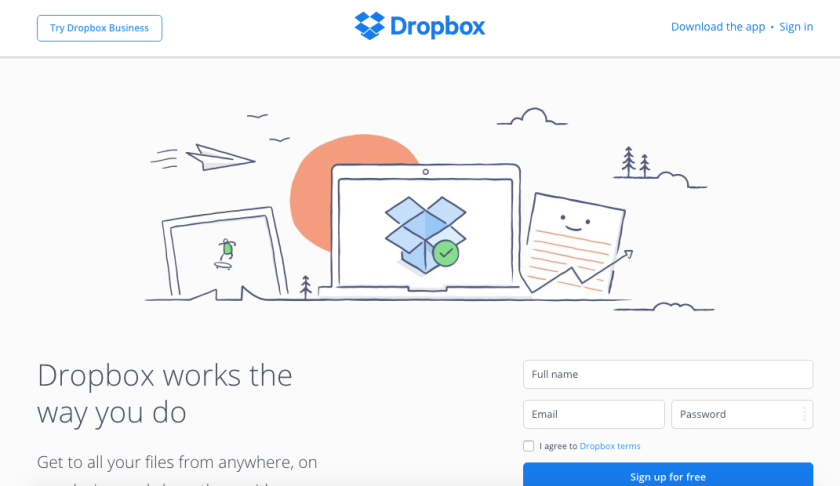 Dropbox website, web 3.0 design