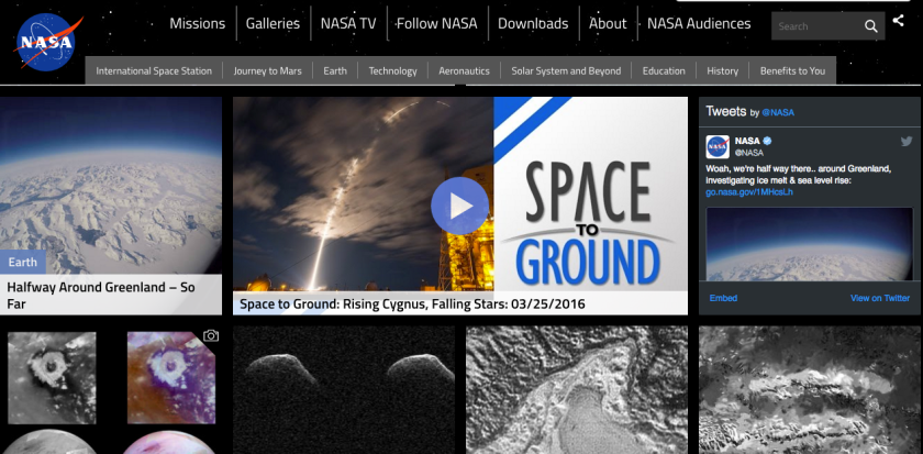 A Twitter widget on NASA, a web 3.0 feature.