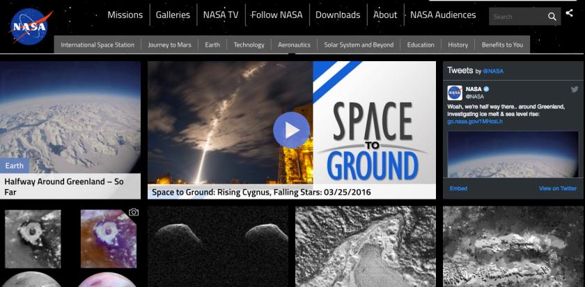 A Twitter widget on NASA, a web 3.0 feature.