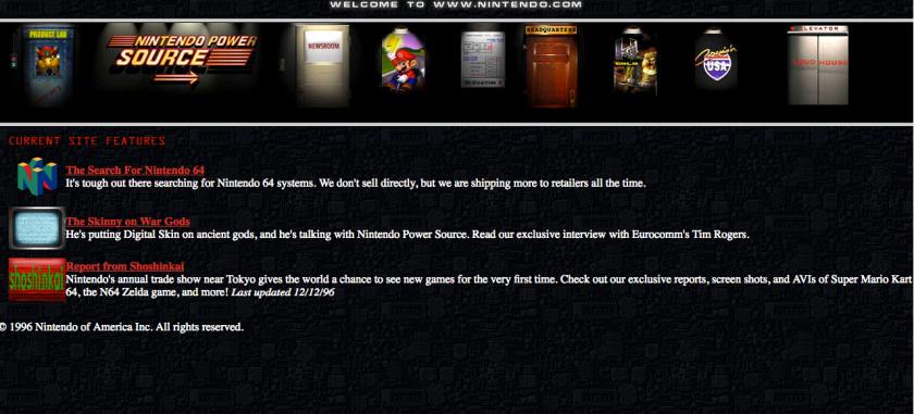 Official Nintendo website in 1996