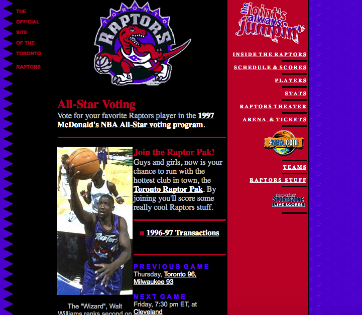Raptors.com in 1996