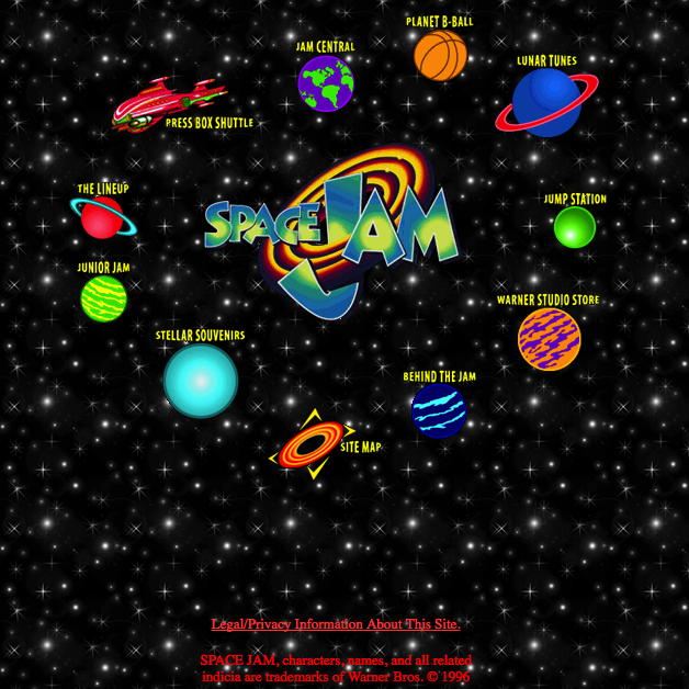 Website for the movie Space Jam, a web 1.0 site.