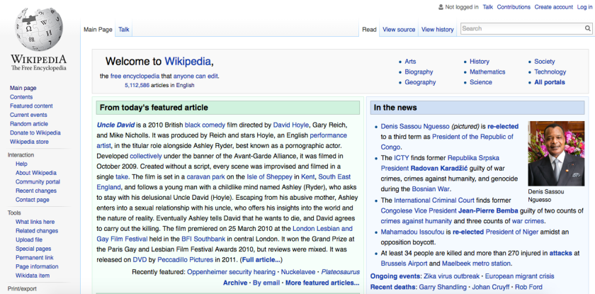 Wikipedia front page, a web 2.0 site