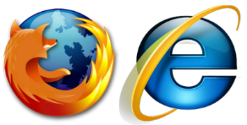 Firefox and Internet Explorer logos side by side