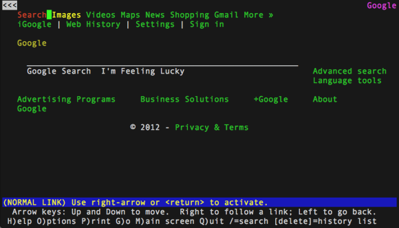 Screenshot of Google being viewed on Lynx