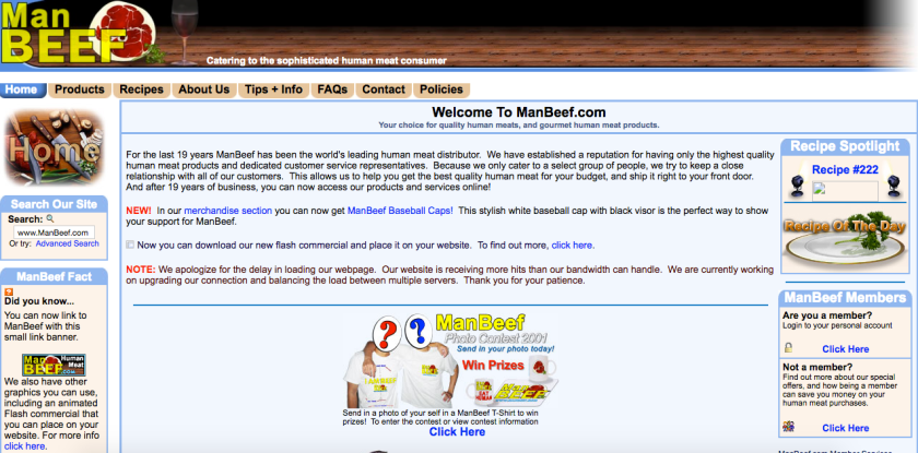 Screenshot of the ManBeef front page