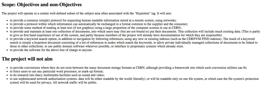 List of Objectives and non-Objectives from Tim Berners-Lee's proposal for the WorldWideWeb