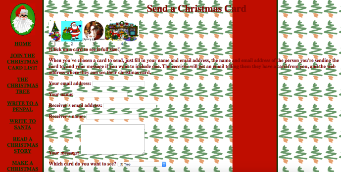Christmas themed GeoCities site