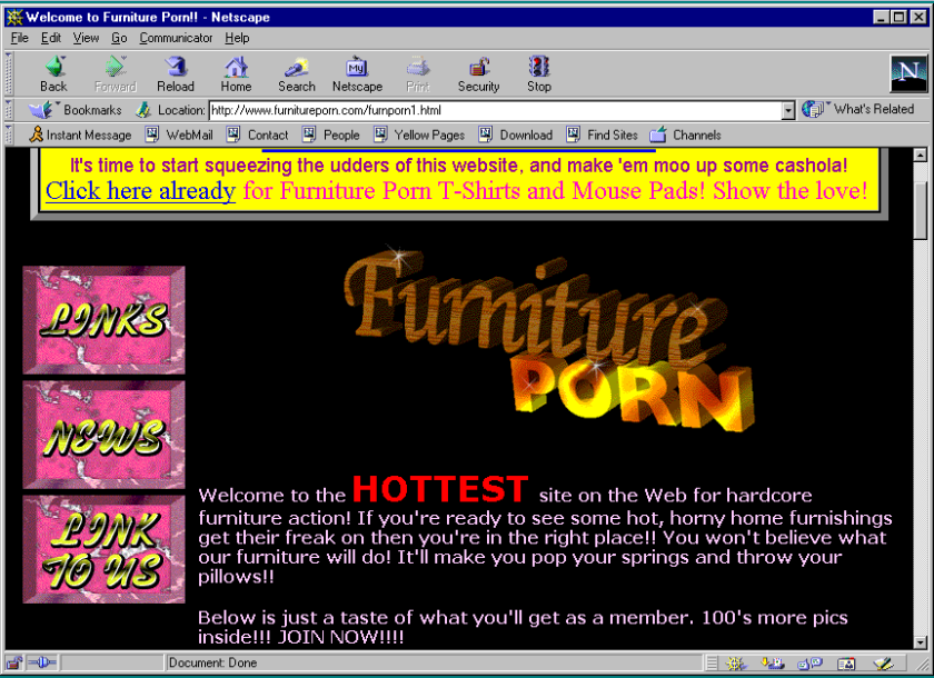 Furniture Porn main page screenshot