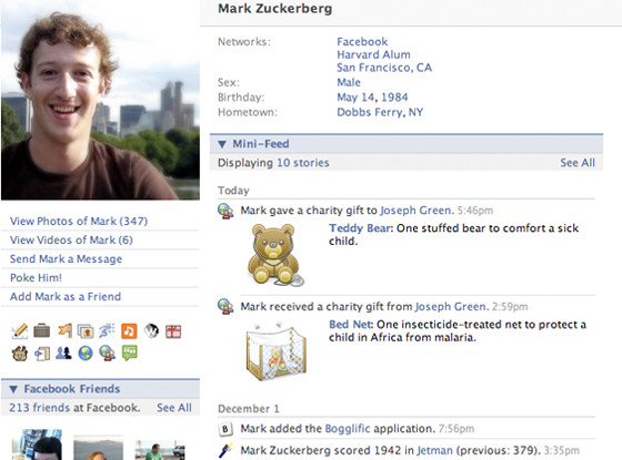 Mark Zuckerberg's Facebook profile 2008