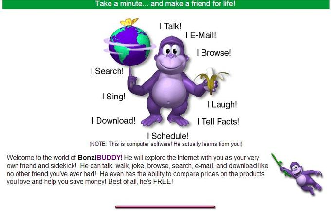 Screenshot from the Bonzi Buddy website