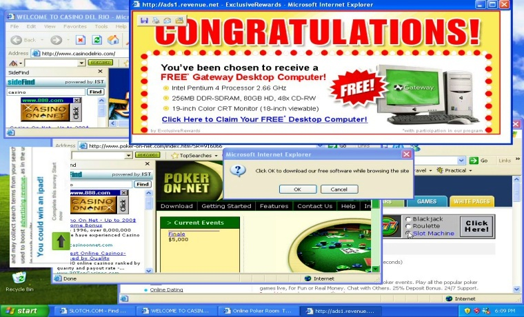 Screenshot of malware, pop-ups, and other viruses on a computer